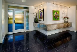 Contemporary Entryway with can lights, Transom window, flush light, simple marble tile floors, Standard height, French doors