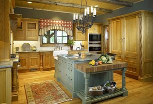 Traditional Kitchen with Exposed beam, L-shaped, World Imports 12 Light Island Chandelier, Custom hood, Kitchen island