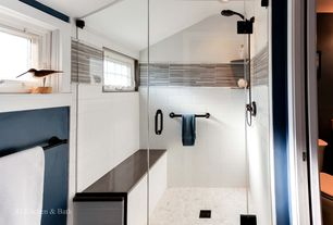 Contemporary 3/4 Bathroom with frameless showerdoor, Shower, can lights, Casement, three quarter bath, Rain shower