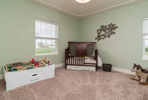 Traditional Kids Bedroom with Standard height, no bedroom feature, Ceiling fan, Carpet, double-hung window, Crown molding