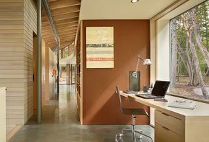 Contemporary Home Office with Exposed beam, Columns, Concrete floors