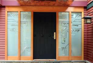 Modern Front Door with Pathway, exterior stone floors, Stained glass window
