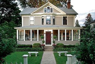 Craftsman Exterior of Home with Gate, Arched window, Pathway, Bay window, Fence