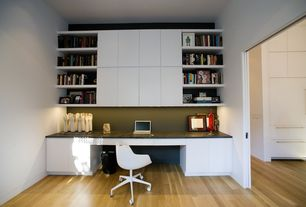 Contemporary Home Office with Eurostyle Sunny Office Chair, Built-in bookshelf, Flaxen Maple 8 mm Laminate Wood Look