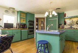 Eclectic Kitchen with Kitchen island, Millstead Maple Latte Random Length Solid Real Hardwood Flooring, Hardwood floors