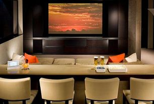 "Contemporary Home Theater with Carpet, MS International Tahoe Granite, 120"" jamestown matte white home theater screen"