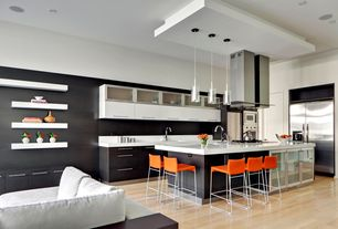 Modern Kitchen with Plummers sillus barstool, Afx 1 light pendant, Pendant light, Armstrong hardwood birch, High ceiling