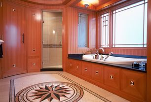 Craftsman Master Bathroom with Stained glass window, Wall sconce, frameless showerdoor, Wainscotting