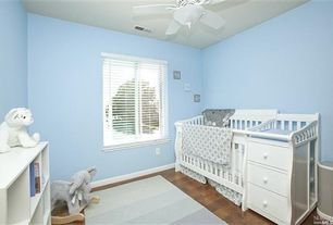 Traditional Kids Bedroom with Ceiling fan, Hardwood floors