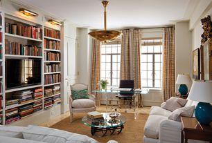 Eclectic Living Room with Chandelier, Tonelli Bacco Glass Desk, Built-in bookshelf, Crown molding, Hardwood floors