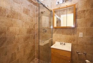Craftsman 3/4 Bathroom with frameless showerdoor, Undermount sink, Meta marble & granite tile in noce antique/cobbled, Flush
