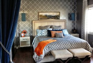 Eclectic Master Bedroom with Pendant light, Small solid cobalt blue cylinder pendant light, Hardwood floors