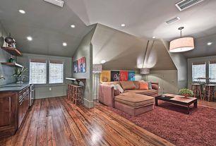 Contemporary Great Room with Hardwood floors, Pendant light, Built-in bookshelf