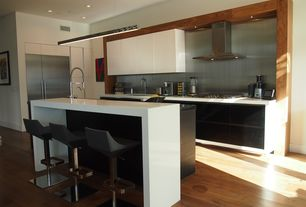 Contemporary Kitchen with Pendant light, Simple marble counters, Sunpan Modern Gustavo Adjustable Height Bar Stool, Flush