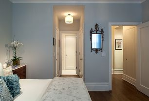 Traditional Master Bedroom with Metz interiors:  ruffled pillow sham, Built-in bookshelf, High ceiling, Paint, Crown molding