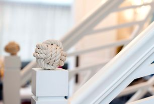 Cottage Staircase with Land of nod rope ball finials (set of 2), White railing