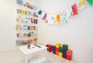 Contemporary Playroom with Hardwood floors, Built-in bookshelf