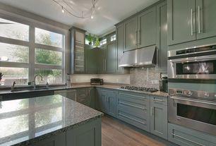 Contemporary Kitchen with MS International Crema Caramel Granite, Cuisinart TOB-40 Classic Toaster Oven, flush light, Flush