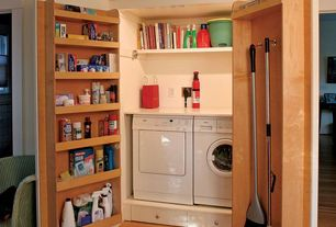Country Laundry Room with Hardwood floors, Undermount sink, Built-in bookshelf, Standard height, laundry sink