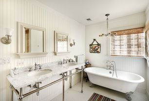 Cottage 3/4 Bathroom with partial backsplash, three quarter bath, Restoration hardware: gramercy double metal wash stand