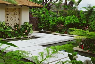 Tropical Landscape/Yard with Hawaii, exterior tile floors, Beech Fern, Pond, Raised beds, Pathway, ceremonial entry gate
