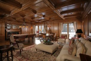 Traditional Game Room with French doors, Box ceiling, Hardwood floors, Standard height, Pendant light