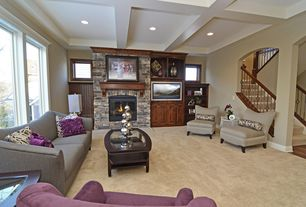 Contemporary Living Room with Box ceiling, Built-in bookshelf, Monarch straight back swirl fabric accent chair - brown