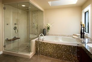 Modern Master Bathroom with Casement, can lights, Shower, Rain shower, Master bathroom, drop in bathtub, Paint, Skylight