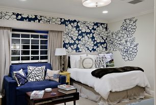 Contemporary Guest Bedroom with Standard height, specialty window, interior wallpaper, can lights, Crown molding