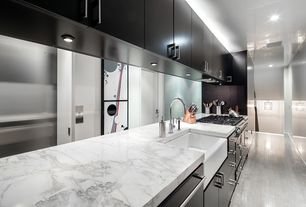 Modern Kitchen with One-wall, double oven range, Apron sink - white, Standard height, Farmhouse sink, European Cabinets