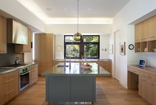 Contemporary Kitchen with European Cabinets, Pental Quartz Altea, Wood counters, Pendant light, Simple granite counters