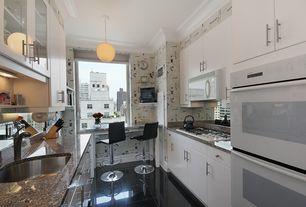 Modern Kitchen with interior wallpaper, Simple granite counters, Breakfast bar, Undermount sink, European Cabinets, Flush