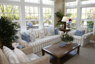 Cottage Living Room with FOX6505A Accent Chairs, Sure Fit Seaside Stripe Slipcovers, Carpet