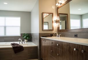 Modern Master Bathroom with EGLO Palmera 2 Light Wall Sconce, Daltile Spark Smokey Glimmer Porcelain Tile
