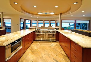 Contemporary Kitchen with U-shaped, Ms international - onyx bamboo granite, Destiny: slab cabinets, Undermount sink, Columns