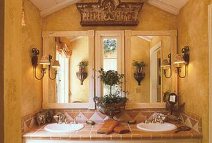 Eclectic Full Bathroom with Terra cotta cuadradito, floor and wall tile, Stone Tile, Terracotta Tile, Flat panel cabinets