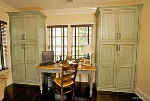 Country Home Office with Paint, Standard height, Hardwood floors, French country ladder back dining chair, Crown molding