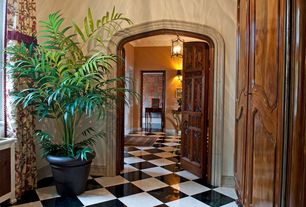 Traditional Entryway with Back bay radiator cover, simple marble tile floors, stone tile floors, High ceiling, six panel door