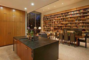 Modern Great Room with Carpet, Built-in bookshelf