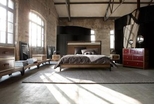 Contemporary Master Bedroom with complex marble floors, High ceiling, Copenhagen queen bed, oatmeal, Exposed beam