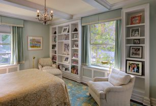 Traditional Master Bedroom with Chandelier, Window seat, Hardwood floors, Box ceiling, Built-in bookshelf, Crown molding