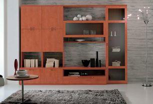 Modern Living Room with High ceiling, Concrete floors, Built-in bookshelf
