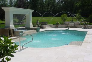 Traditional Swimming Pool with exterior tile floors, exterior concrete tile floors, Other Pool Type, Fountain