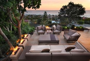 Contemporary Patio with InvisiRail Glass Deck Railing System, Fire pit, exterior tile floors, Napoleon rectangle fire pit