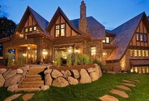 Craftsman Exterior of Home with exterior stone floors, Pathway, French doors, specialty window, Transom window, Casement