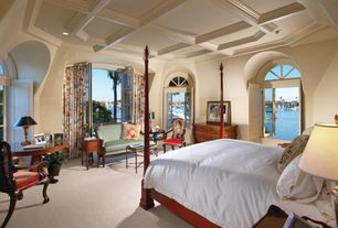 Traditional Master Bedroom with French doors, Arched window, Carpet, Box ceiling, Crown molding