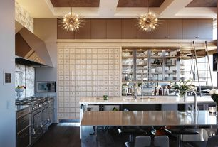 Modern Kitchen with Complex Marble, Chandelier, Flush, Arteriors home zanadoo small chandelier in gold, Limestone counters