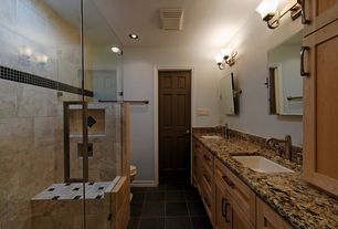 Modern Full Bathroom with Standard height, six panel door, Paint, stone tile floors, MS International Granite - Desert Dream