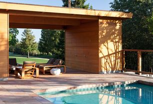 Contemporary Patio with Exterior wood paneling, West elm- pebble coffee table, Pathway, Wood and iron railing