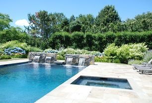 Traditional Swimming Pool with Other Pool Type, Fountain, exterior stone floors